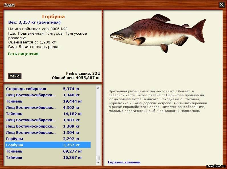 рыбалка 3.7 список рыб